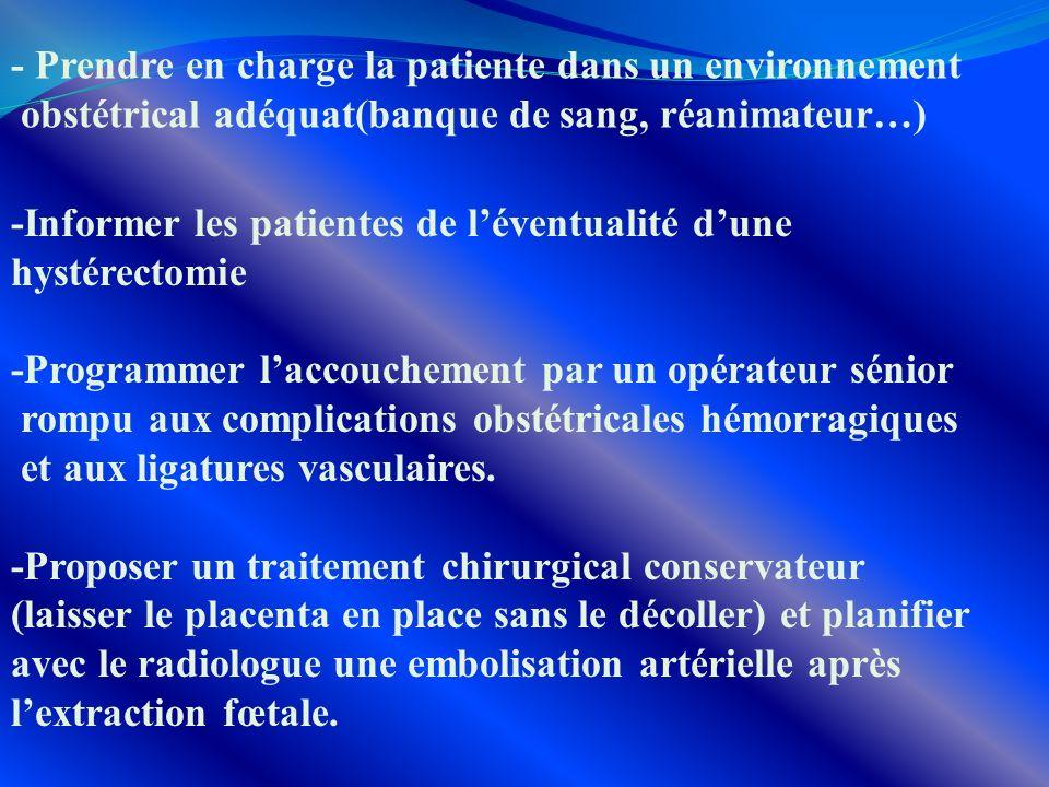 - Prendre en charge la patiente dans un environnement obstétrical adéquat(banque de sang, réanimateur…) -Informer les patientes de léventualité dune h