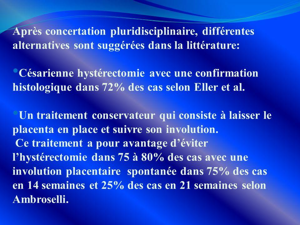 Après concertation pluridisciplinaire, différentes alternatives sont suggérées dans la littérature: Césarienne hystérectomie avec une confirmation his