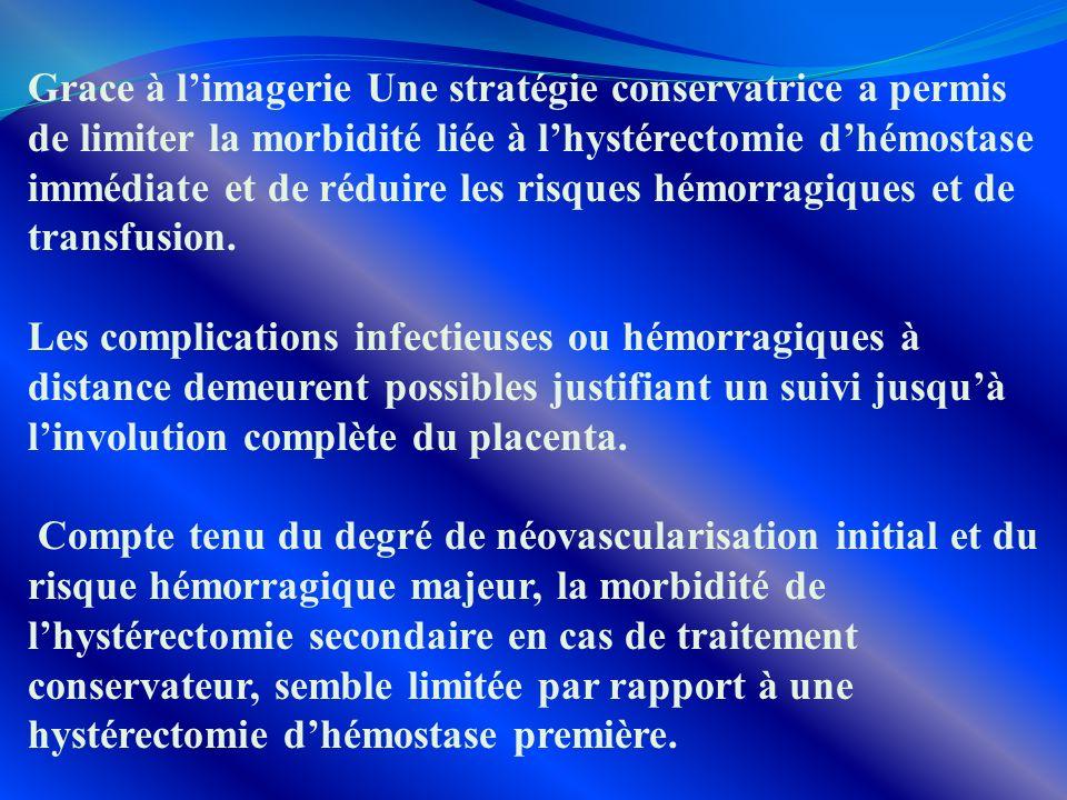 Grace à limagerie Une stratégie conservatrice a permis de limiter la morbidité liée à lhystérectomie dhémostase immédiate et de réduire les risques hé