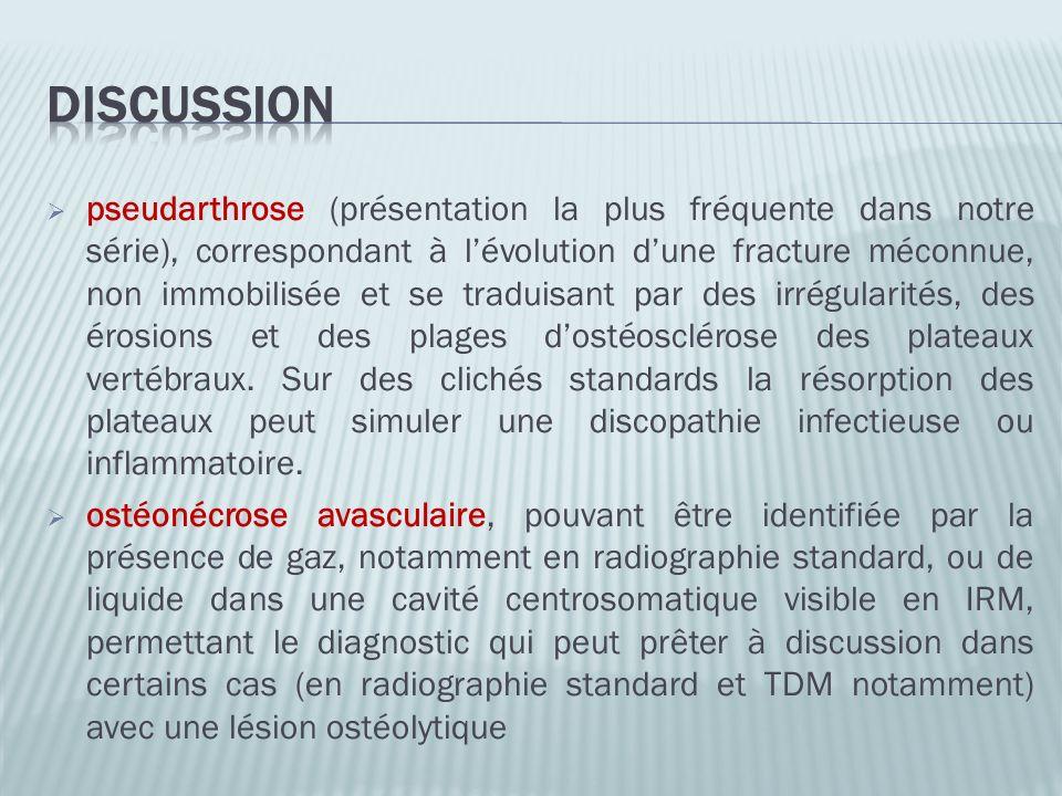 pseudarthrose (présentation la plus fréquente dans notre série), correspondant à lévolution dune fracture méconnue, non immobilisée et se traduisant p