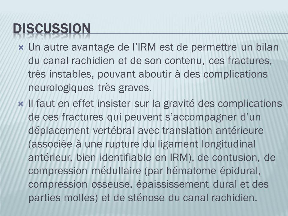Un autre avantage de lIRM est de permettre un bilan du canal rachidien et de son contenu, ces fractures, très instables, pouvant aboutir à des complic