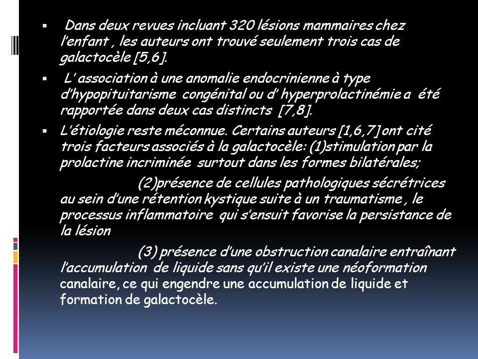 Dans deux revues incluant 320 lésions mammaires chez lenfant, les auteurs ont trouvé seulement trois cas de galactocèle [5,6]. L association à une ano