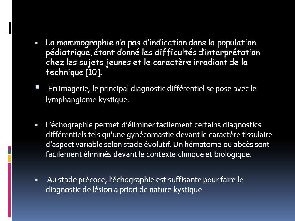 La mammographie na pas dindication dans la population pédiatrique, étant donné les difficultés dinterprétation chez les sujets jeunes et le caractère