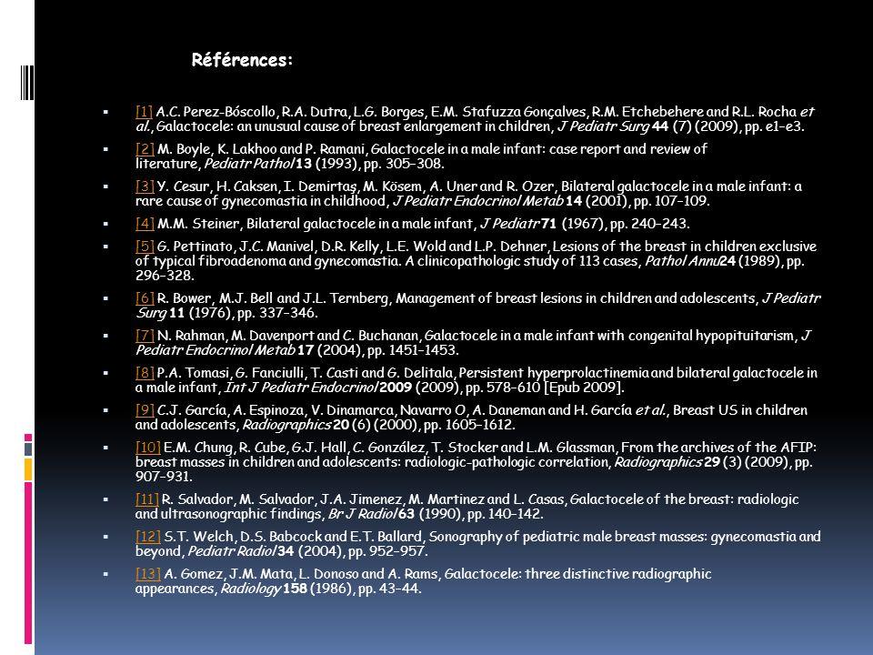 Références: [1] A.C. Perez-Bóscollo, R.A. Dutra, L.G. Borges, E.M. Stafuzza Gonçalves, R.M. Etchebehere and R.L. Rocha et al., Galactocele: an unusual
