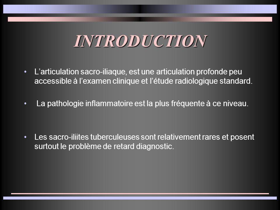 INTRODUCTION Larticulation sacro-iliaque, est une articulation profonde peu accessible à lexamen clinique et létude radiologique standard. La patholog