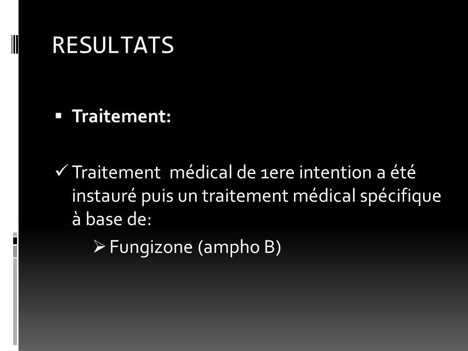 RESULTATS Traitement: Traitement médical de 1ere intention a été instauré puis un traitement médical spécifique à base de: Fungizone (ampho B)