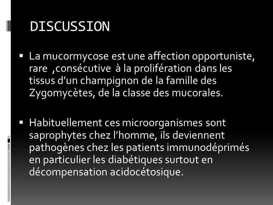DISCUSSION La mucormycose est une affection opportuniste, rare,consécutive à la prolifération dans les tissus dun champignon de la famille des Zygomyc