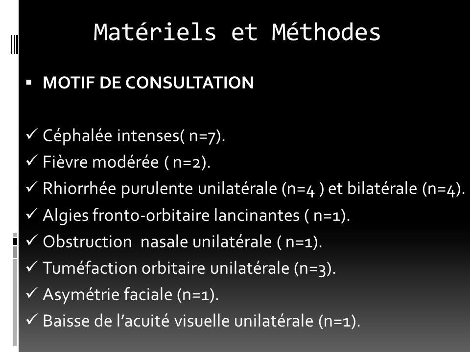 Matériels et Méthodes MOTIF DE CONSULTATION Céphalée intenses( n=7). Fièvre modérée ( n=2). Rhiorrhée purulente unilatérale (n=4 ) et bilatérale (n=4)