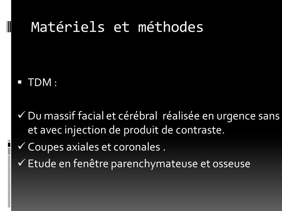Matériels et méthodes TDM : Du massif facial et cérébral réalisée en urgence sans et avec injection de produit de contraste. Coupes axiales et coronal