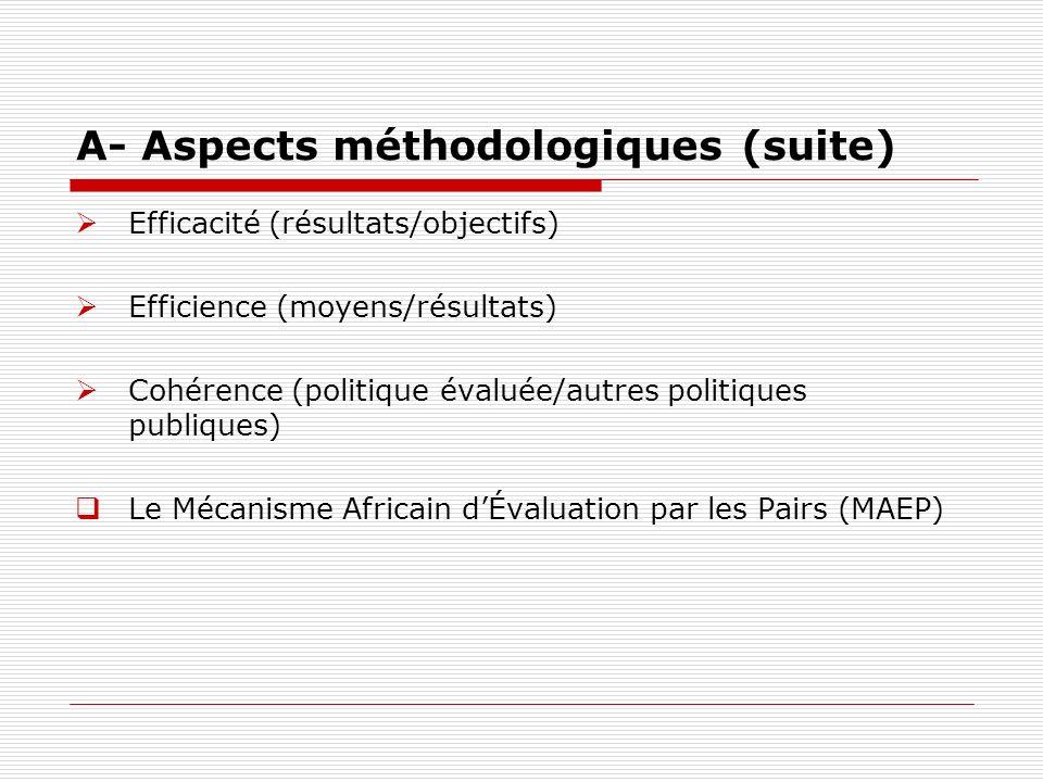 A- Aspects méthodologiques (suite) Efficacité (résultats/objectifs) Efficience (moyens/résultats) Cohérence (politique évaluée/autres politiques publi