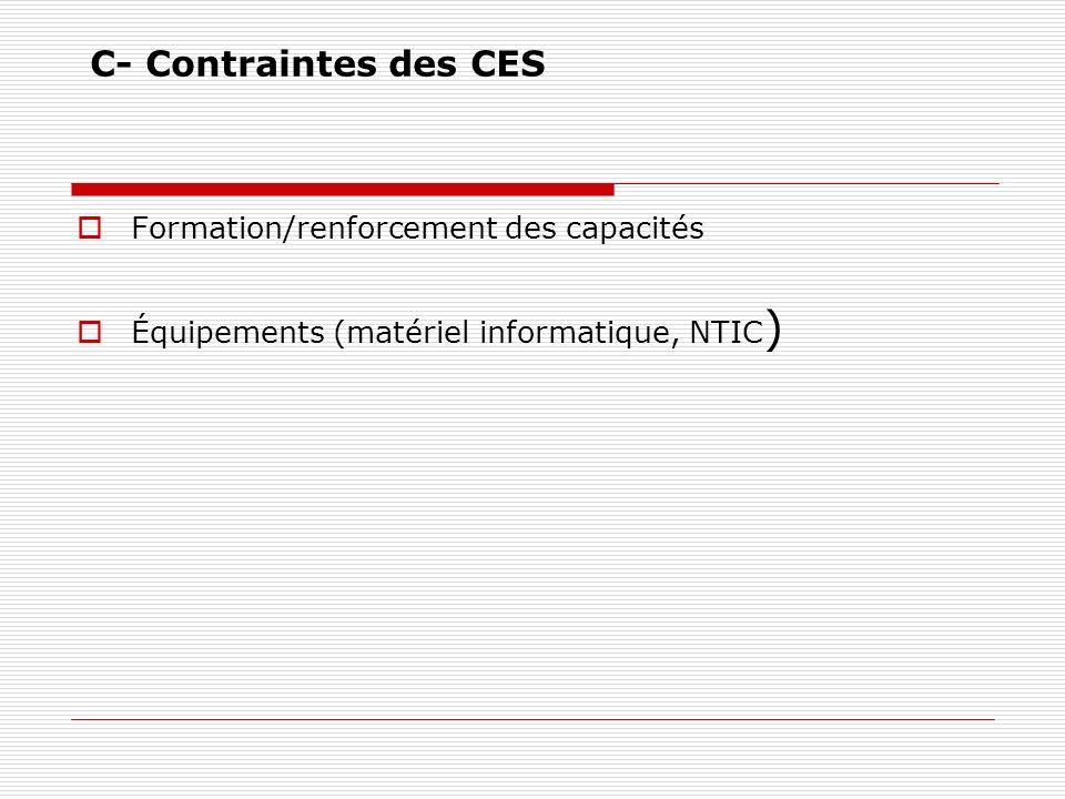 C- Contraintes des CES Formation/renforcement des capacités Équipements (matériel informatique, NTIC )