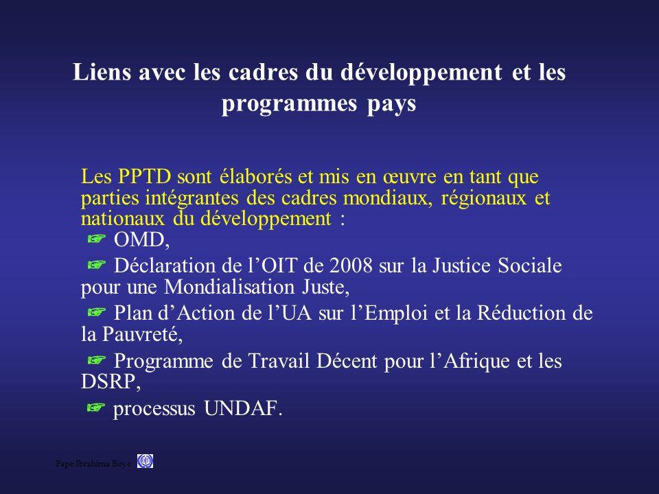 Pape Ibrahima Bèye Liens avec les cadres du développement et les programmes pays Les PPTD sont élaborés et mis en œuvre en tant que parties intégrante