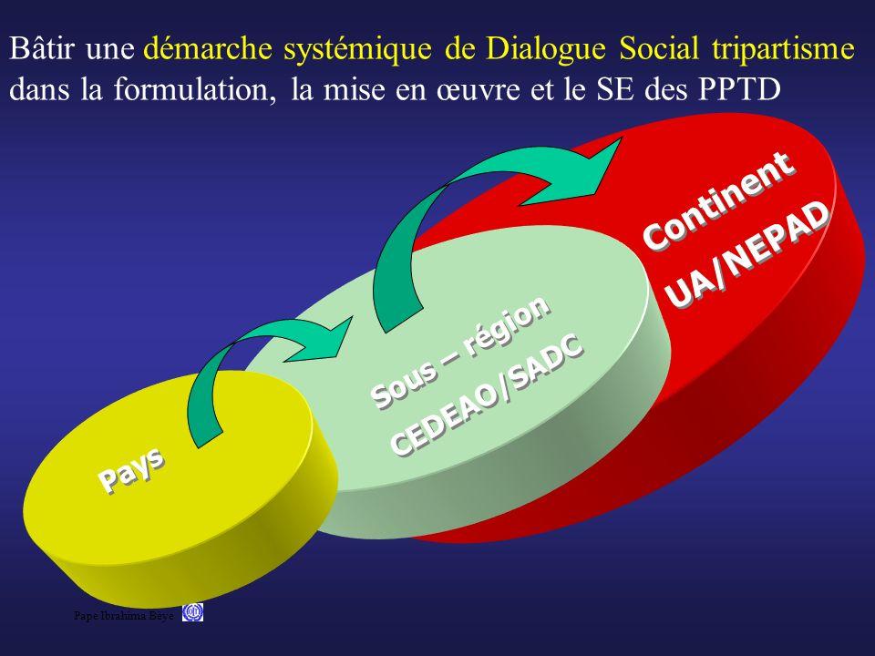 Pape Ibrahima Bèye Bâtir une démarche systémique de Dialogue Social tripartisme dans la formulation, la mise en œuvre et le SE des PPTD Continent UA/N