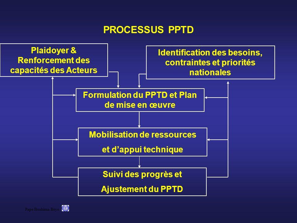 Pape Ibrahima Bèye PROCESSUS PPTD Plaidoyer & Renforcement des capacités des Acteurs Identification des besoins, contraintes et priorités nationales F