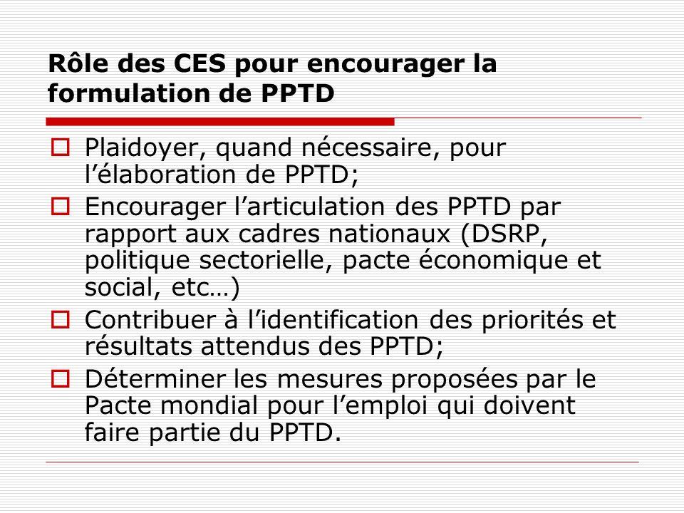 Rôle des CES pour encourager la formulation de PPTD Plaidoyer, quand nécessaire, pour lélaboration de PPTD; Encourager larticulation des PPTD par rapport aux cadres nationaux (DSRP, politique sectorielle, pacte économique et social, etc…) Contribuer à lidentification des priorités et résultats attendus des PPTD; Déterminer les mesures proposées par le Pacte mondial pour lemploi qui doivent faire partie du PPTD.