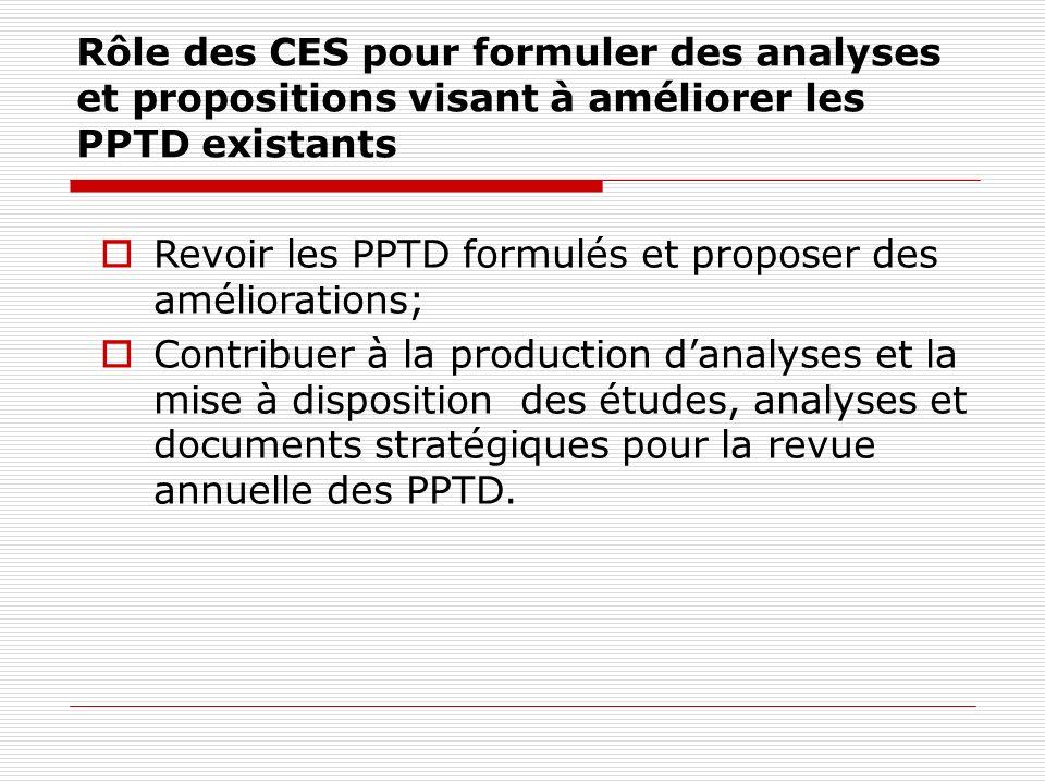 Rôle des CES pour formuler des analyses et propositions visant à améliorer les PPTD existants Revoir les PPTD formulés et proposer des améliorations; Contribuer à la production danalyses et la mise à disposition des études, analyses et documents stratégiques pour la revue annuelle des PPTD.