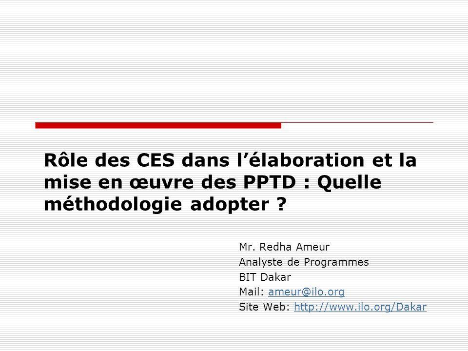 Rôle des CES dans lélaboration et la mise en œuvre des PPTD : Quelle méthodologie adopter ? Mr. Redha Ameur Analyste de Programmes BIT Dakar Mail: ame
