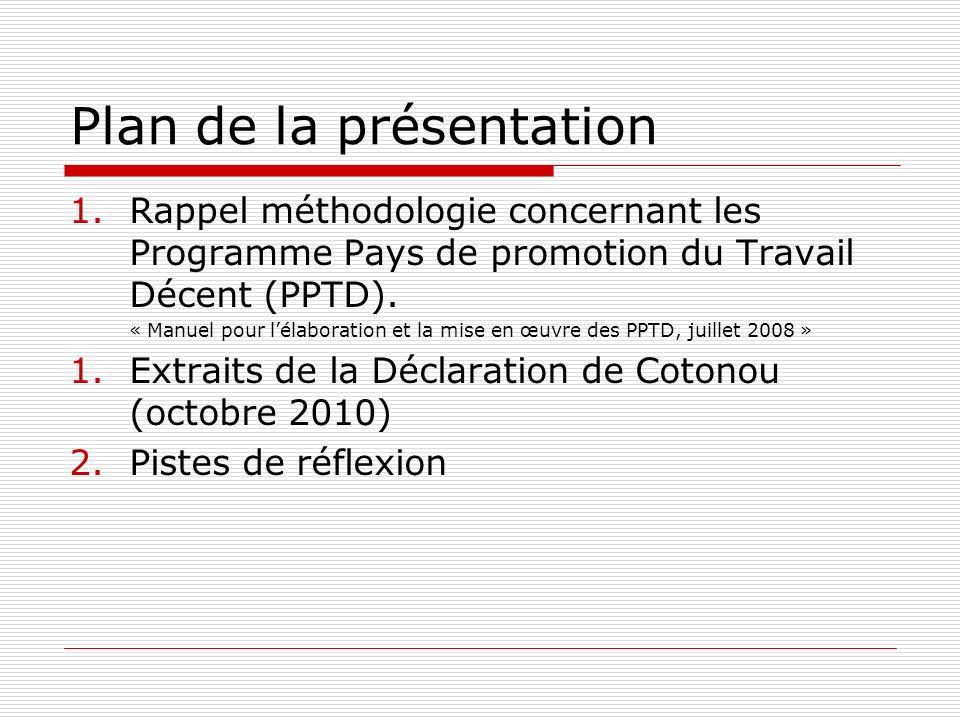 Plan de la présentation 1.Rappel méthodologie concernant les Programme Pays de promotion du Travail Décent (PPTD). « Manuel pour lélaboration et la mi