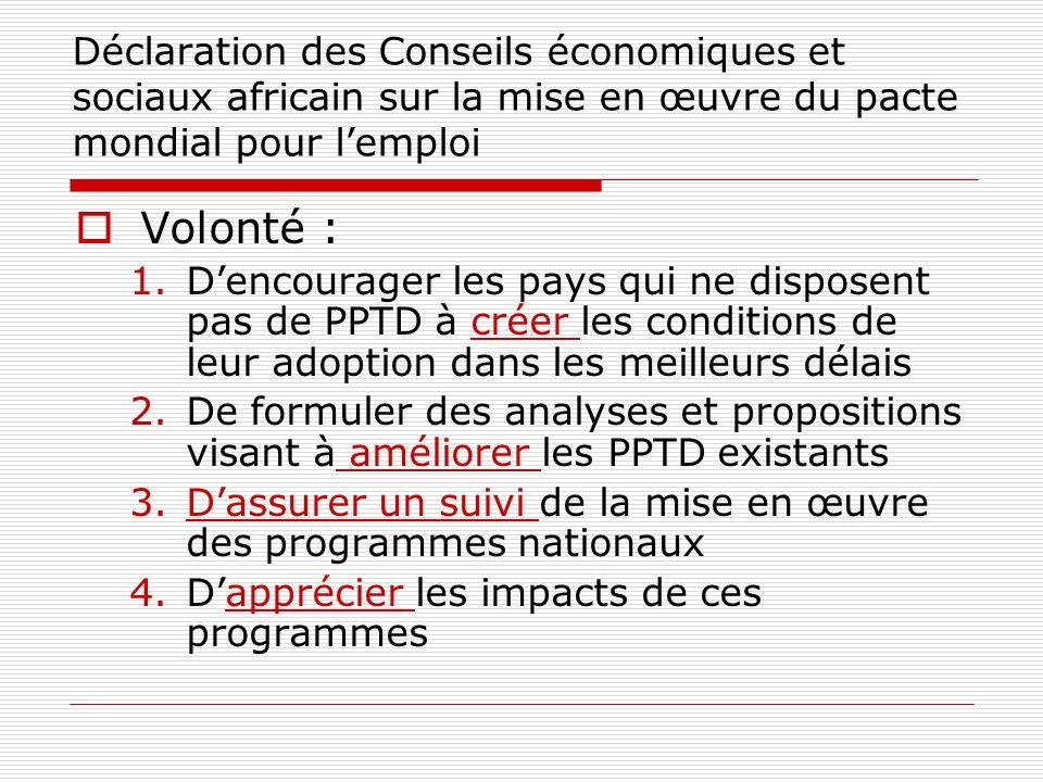 Déclaration des Conseils économiques et sociaux africain sur la mise en œuvre du pacte mondial pour lemploi Volonté : 1.Dencourager les pays qui ne di