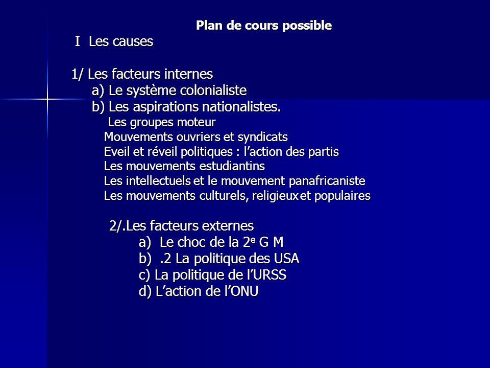Plan de cours possible I Les causes I Les causes 1/ Les facteurs internes 1/ Les facteurs internes a) Le système colonialiste a) Le système colonialis