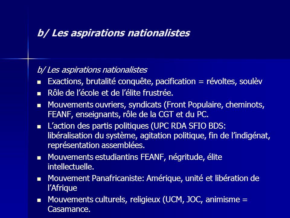 b/ Les aspirations nationalistes Exactions, brutalité conquête, pacification = révoltes, soulèv Rôle de lécole et de lélite frustrée. Mouvements ouvri