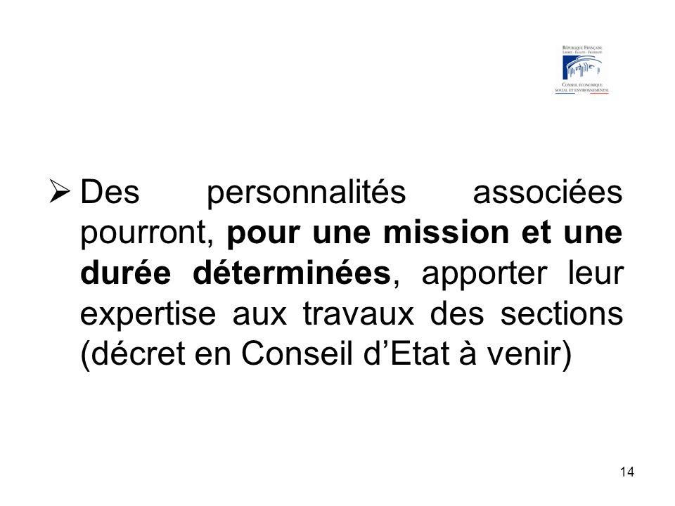 14 Des personnalités associées pourront, pour une mission et une durée déterminées, apporter leur expertise aux travaux des sections (décret en Consei