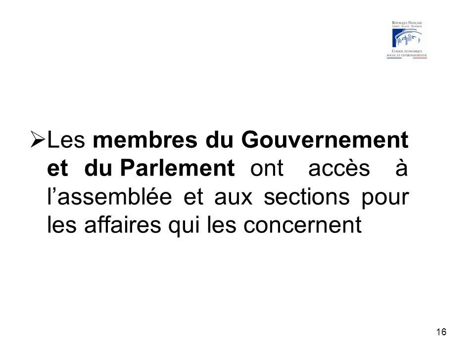16 Les membres du Gouvernement et du Parlement ont accès à lassemblée et aux sections pour les affaires qui les concernent