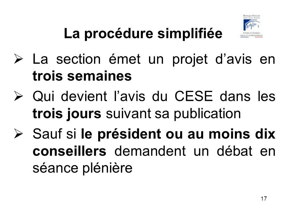 17 La procédure simplifiée La section émet un projet davis en trois semaines Qui devient lavis du CESE dans les trois jours suivant sa publication Sau