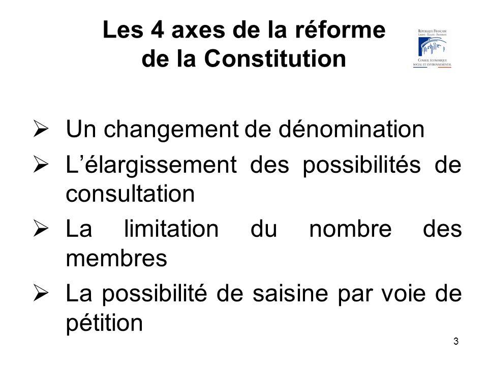 3 Les 4 axes de la réforme de la Constitution Un changement de dénomination Lélargissement des possibilités de consultation La limitation du nombre de
