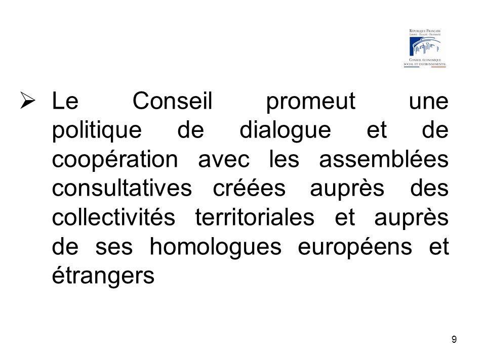9 Le Conseil promeut une politique de dialogue et de coopération avec les assemblées consultatives créées auprès des collectivités territoriales et au