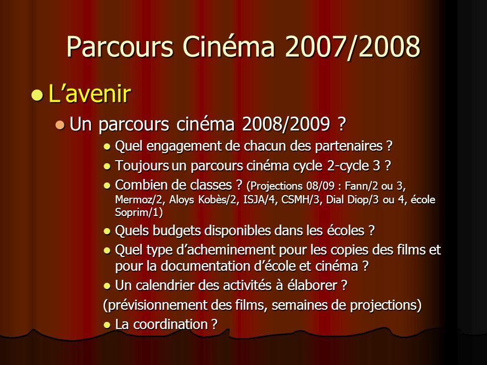 Parcours Cinéma 2007/2008 Lavenir Lavenir Un parcours cinéma 2008/2009 .