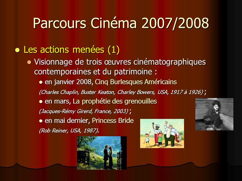 Parcours Cinéma 2007/2008 Les actions menées (2) Les actions menées (2) Activités dans le domaine de la maîtrise de la langue : Activités dans le domaine de la maîtrise de la langue : Travaux à partir des affiches des films (commentaires, questionnements, hypothèses…) ; Travaux à partir des affiches des films (commentaires, questionnements, hypothèses…) ; débats, échanges qui ont précédé et suivi chaque projection ; débats, échanges qui ont précédé et suivi chaque projection ; langage dévocation ; langage dévocation ; comparaison « avant le film » / « après le film » ; comparaison « avant le film » / « après le film » ; étude des livres « La prophétie des grenouilles » étude des livres « La prophétie des grenouilles » et comparaison film danimation / BD ; productions décrits suscitées par les œuvres (écriture de synopsis, de critiques de films, résumés, récits…).