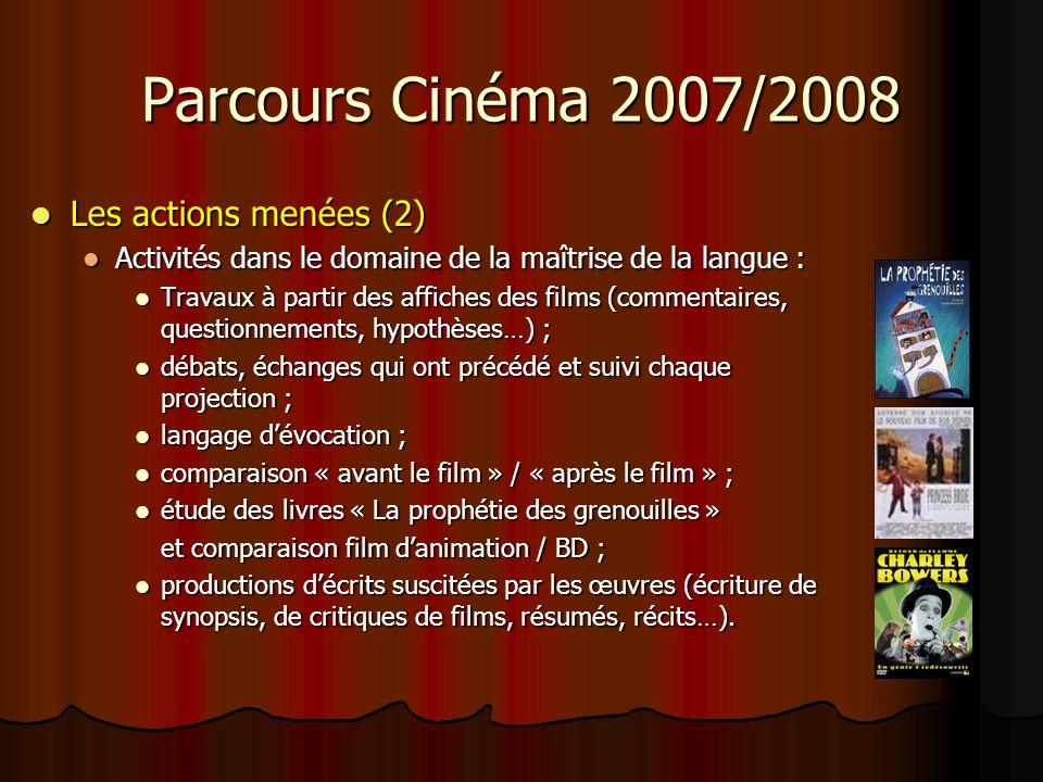 Parcours Cinéma 2007/2008 Les actions menées (3) Les actions menées (3) Activités dans le domaine des arts visuels, et de la découverte de lart cinématographique en particulier : Activités dans le domaine des arts visuels, et de la découverte de lart cinématographique en particulier : Travaux danalyse filmique (séquences, plans…) ; Travaux danalyse filmique (séquences, plans…) ; développement dune première culture cinématographique (acquérir un vocabulaire spécifique, entrer au cinéma pour voir des films, connaître des noms de films, de réalisateurs, des métiers du cinéma, etc.) ; développement dune première culture cinématographique (acquérir un vocabulaire spécifique, entrer au cinéma pour voir des films, connaître des noms de films, de réalisateurs, des métiers du cinéma, etc.) ; lien Parcours Cinéma / réalisation dun court métrage ; lien Parcours Cinéma / réalisation dun court métrage ; liaison œuvre littéraire / œuvre cinématographique.