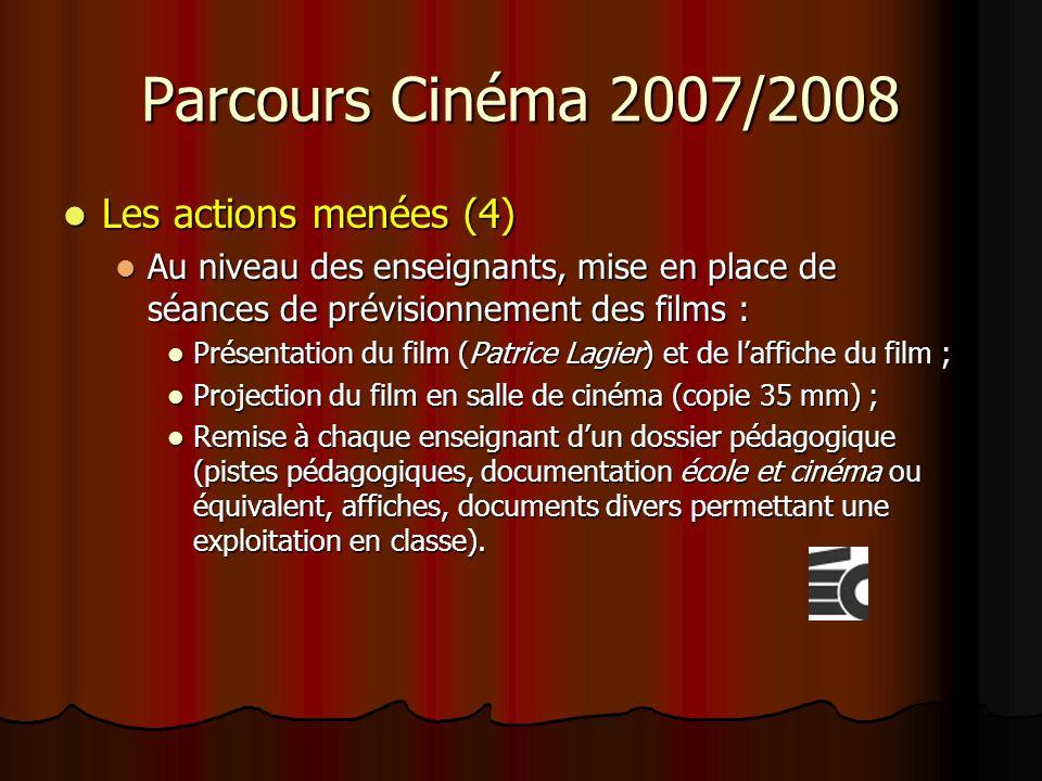 Parcours Cinéma 2007/2008 Les actions menées (4) Les actions menées (4) Au niveau des enseignants, mise en place de séances de prévisionnement des films : Au niveau des enseignants, mise en place de séances de prévisionnement des films : Présentation du film (Patrice Lagier) et de laffiche du film ; Présentation du film (Patrice Lagier) et de laffiche du film ; Projection du film en salle de cinéma (copie 35 mm) ; Projection du film en salle de cinéma (copie 35 mm) ; Remise à chaque enseignant dun dossier pédagogique (pistes pédagogiques, documentation école et cinéma ou équivalent, affiches, documents divers permettant une exploitation en classe).