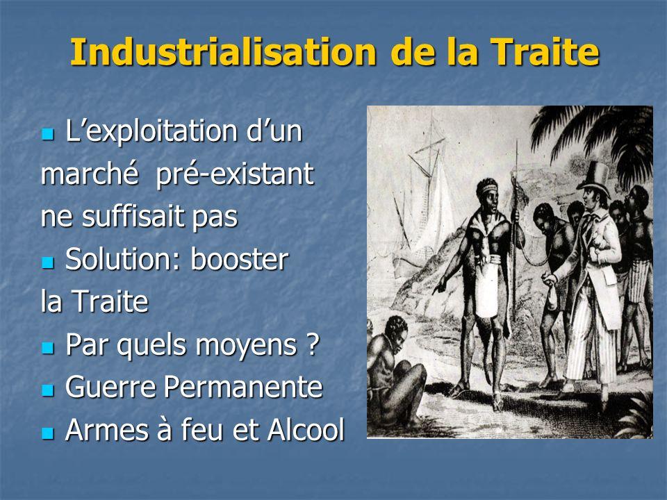 Industrialisation de la Traite Lexploitation dun Lexploitation dun marché pré-existant ne suffisait pas Solution: booster Solution: booster la Traite