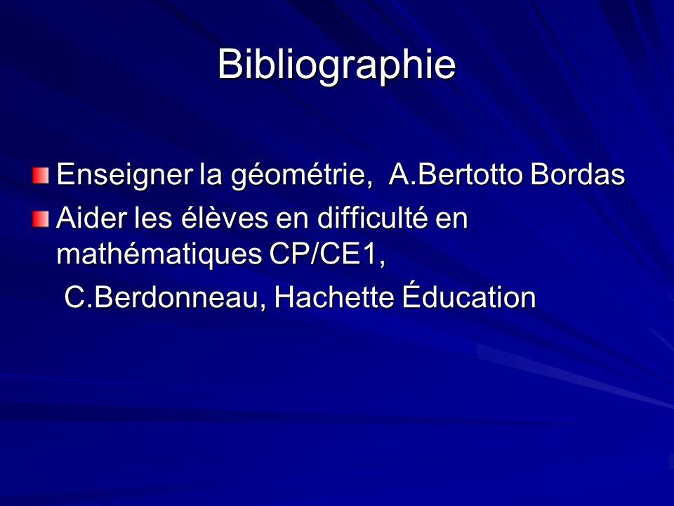Bibliographie Enseigner la géométrie, A.Bertotto Bordas Aider les élèves en difficulté en mathématiques CP/CE1, C.Berdonneau, Hachette Éducation C.Ber