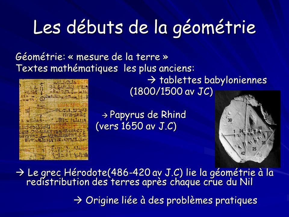 Les débuts de la géométrie Géométrie: « mesure de la terre » Textes mathématiques les plus anciens: tablettes babyloniennes tablettes babyloniennes (1