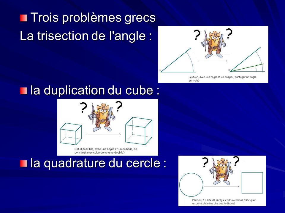 La trisection de l angle, la duplication du cube, et la quadrature du cercle sont trois problèmes grecs classiques qui ont été résolu grâce La trisection de l angle, la duplication du cube, et la quadrature du cercle sont trois problèmes grecs classiques qui ont été résolu grâce Pour ces trois problèmes, la réponse est NON.