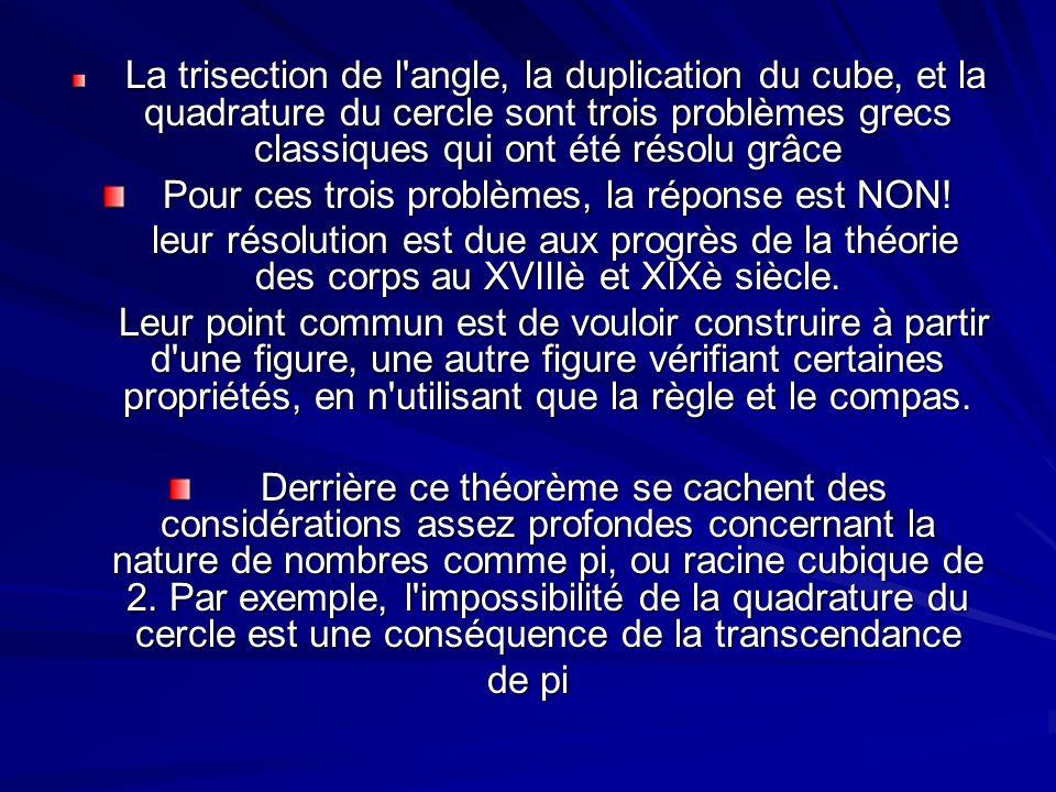 La trisection de l'angle, la duplication du cube, et la quadrature du cercle sont trois problèmes grecs classiques qui ont été résolu grâce La trisect