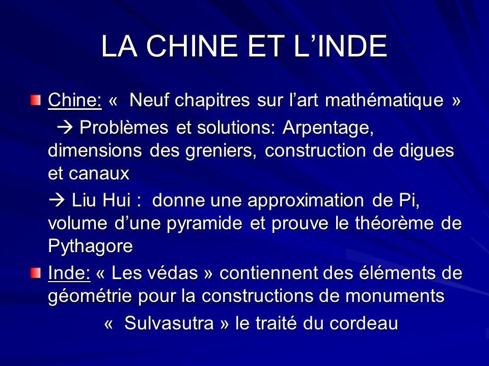 LA CHINE ET LINDE Chine: « Neuf chapitres sur lart mathématique » Problèmes et solutions: Arpentage, dimensions des greniers, construction de digues e
