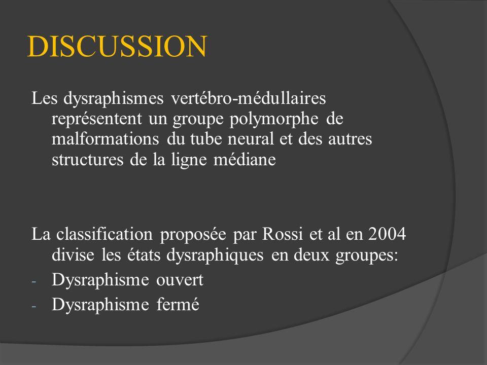 DISCUSSION Les dysraphismes vertébro-médullaires représentent un groupe polymorphe de malformations du tube neural et des autres structures de la lign