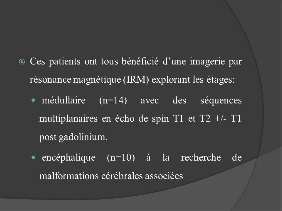 RESULTATS LIRM a mis en évidence: 8 formes de dysraphisme ouvert : méningocèle (n=1) et myéloméningocèle (n=7) 7 formes de dysraphisme fermé : sinus dermique (n=3), diastématomyélie (n=2), et un syndrome de régression caudale (n=2).