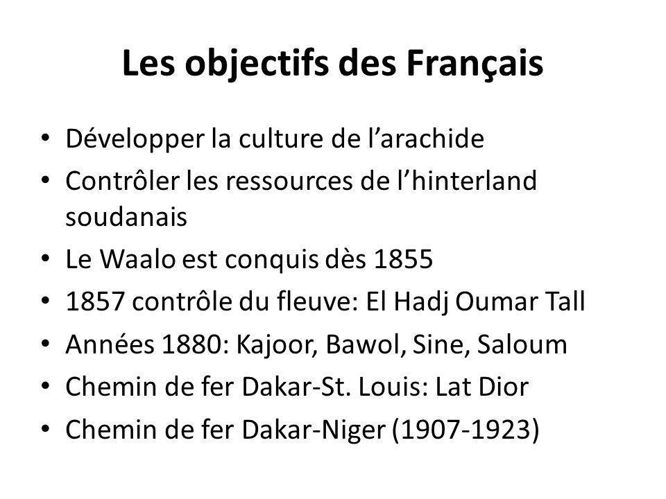 Les objectifs des Français Développer la culture de larachide Contrôler les ressources de lhinterland soudanais Le Waalo est conquis dès 1855 1857 con