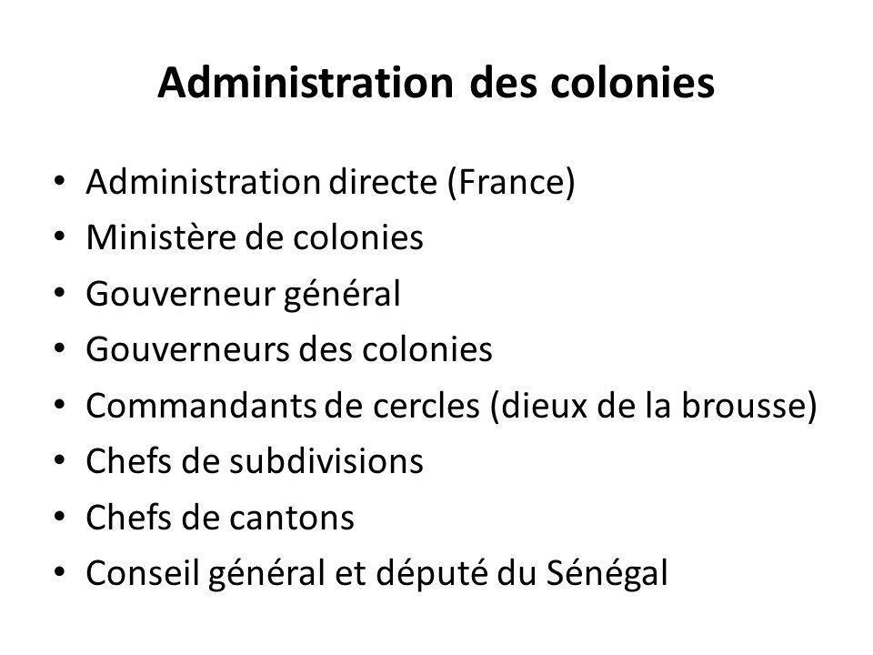 Administration des colonies Administration directe (France) Ministère de colonies Gouverneur général Gouverneurs des colonies Commandants de cercles (