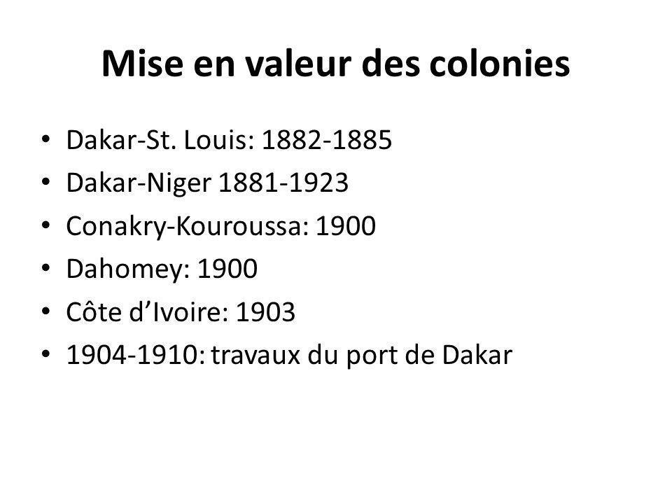 Mise en valeur des colonies Dakar-St. Louis: 1882-1885 Dakar-Niger 1881-1923 Conakry-Kouroussa: 1900 Dahomey: 1900 Côte dIvoire: 1903 1904-1910: trava