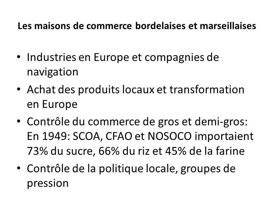 Les maisons de commerce bordelaises et marseillaises Industries en Europe et compagnies de navigation Achat des produits locaux et transformation en E