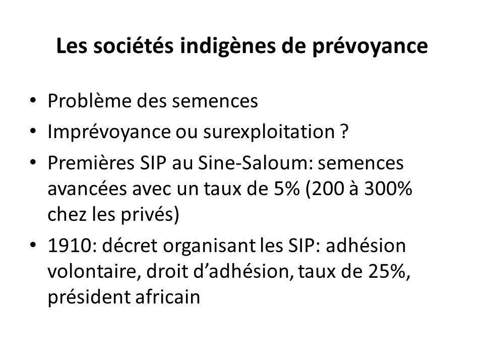 Les sociétés indigènes de prévoyance Problème des semences Imprévoyance ou surexploitation ? Premières SIP au Sine-Saloum: semences avancées avec un t