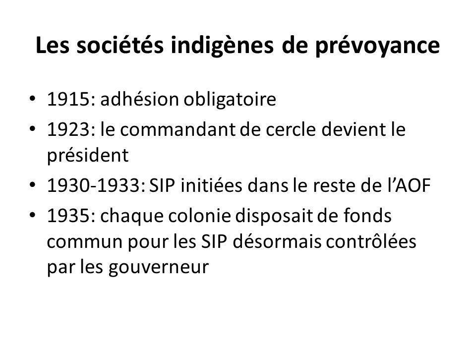 Les sociétés indigènes de prévoyance 1915: adhésion obligatoire 1923: le commandant de cercle devient le président 1930-1933: SIP initiées dans le res