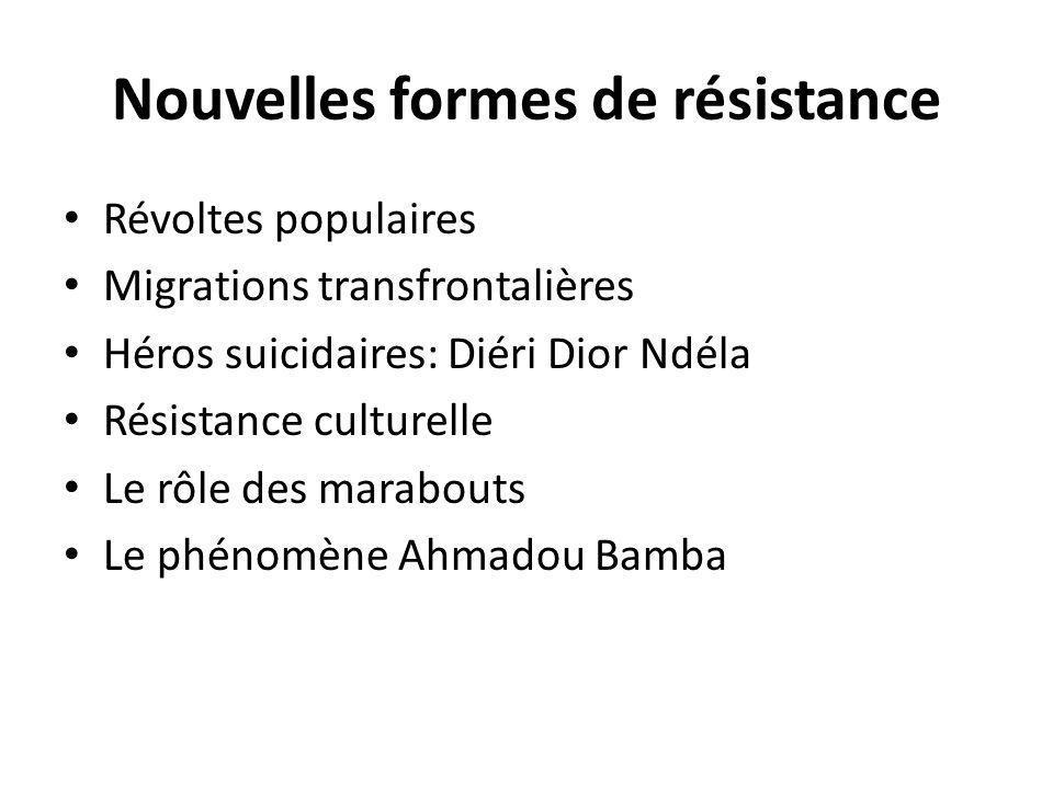 Nouvelles formes de résistance Révoltes populaires Migrations transfrontalières Héros suicidaires: Diéri Dior Ndéla Résistance culturelle Le rôle des