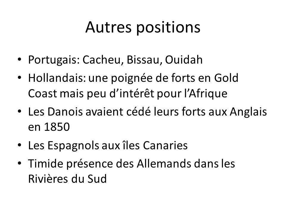 Autres positions Portugais: Cacheu, Bissau, Ouidah Hollandais: une poignée de forts en Gold Coast mais peu dintérêt pour lAfrique Les Danois avaient c